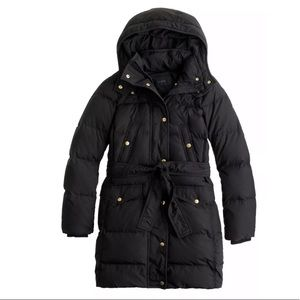 New Black J.Crew Wintress Belted Down Puffer Coat
